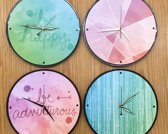 Feel Good watercolor upcycled vynil record clocks