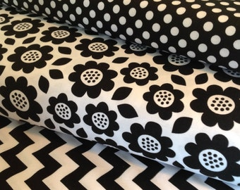Black And White Flower Fabric Bundle - 1/2 Yard Each - Doodlebug Black White Flowers -  Small Black Dots - Small Black Chevron