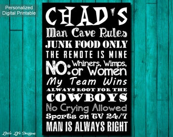 Men's Gift. Personalized Gifts for Men. Sports Man Cave Rules. Gift for Dad. Personalized Man Cave Sign. Gift for Husband. Sports Room Decor