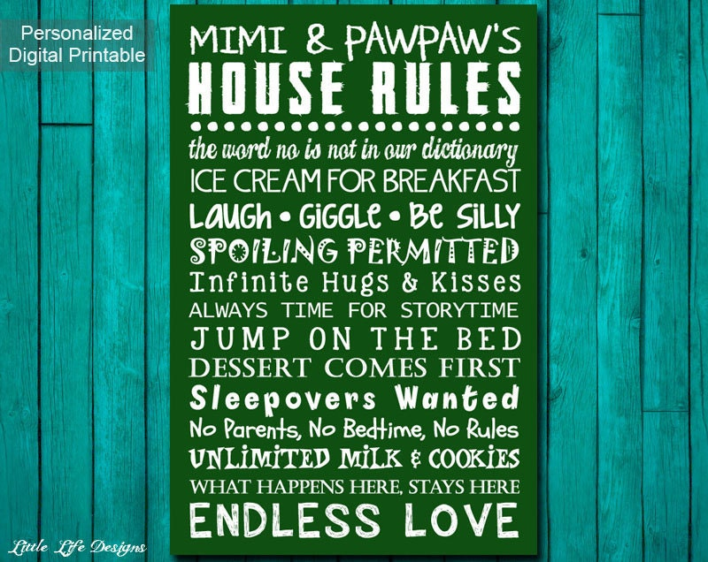Grandparent's House Rules Sign. Grandparent's Rules