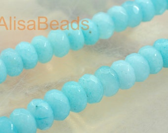 Natural Dyed Blue Jade, faceted rondelle, beads,5x8mm,15 inches