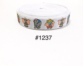 """3 or 5 yard - 1"""" Dumbo Elephant and Mommy in Circus White Grosgrain Ribbon Hair bow"""