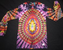 LSS42 Psychedelic Turtle Egg w/Spine on Back, Long Sleeve Tie Dye T-Shirt, Fits Adult Unisex Small