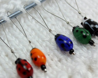 Ladybug Knitting Stitch Markers - snag free knitting markers - dangly stitch markers - knitting notions - gifts for knitters #5008