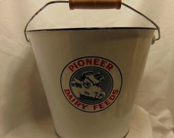 Bucket Enameled Pioneer Dairy Feeds Kitchen Farm Decor #546