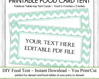 Mint Chevron Table Top Tent Cards, Baby Shower Food Cards, Shower Food Tents, Table-top, foldover, You Print, DIY, EDITABLE