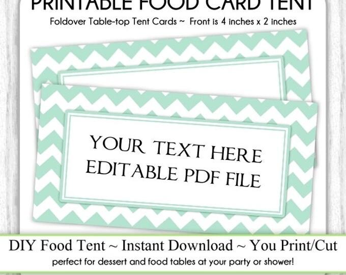 Mint Chevron Table Top Tent Cards, Baby Shower Food Cards, Shower Food Tents, Table-top, foldover, You Print, DIY, EDITABLE