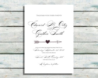 Hearts Wedding Invitations, Modern wedding invites, Black and white invitations, Wedding invitations