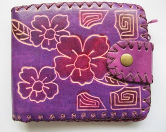 Purple Leather Floral Ethnic Wallet