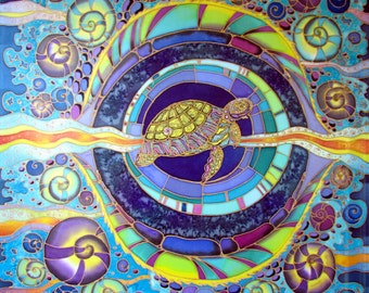 Silk scarf, handpainted. Batik shawl 'Water turtle'' hand-painted on silk.  Luxury gift for her. Made to order.