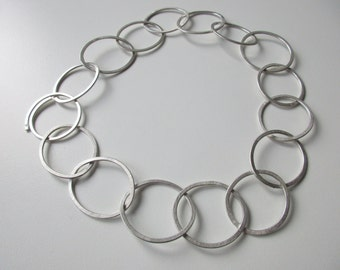 Hand made Cain, hammered simple, timeless sterling silver chain with big limbs, silver chain giltly, Silver Cain big loop, plated