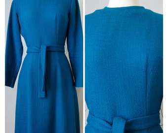 60s Vintage Teal Wool Long Sleeved Day Dress With Belt Appx Size Small/Medium (1960s)