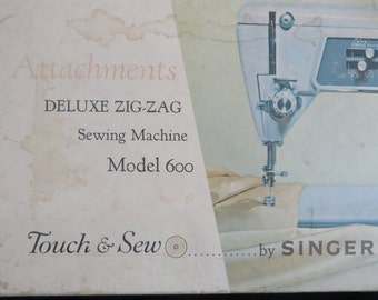 Singer Touch & Sew Deluxe Zig-Zag 600 Parts // Cording Foot - Zipper Foot - Throat Plates - Seam Guide - Spool Pin - Stitch Guides
