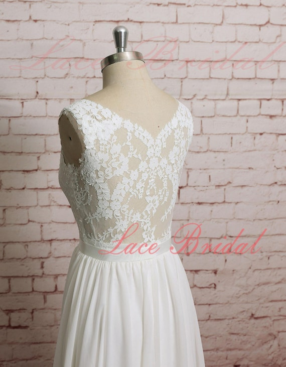 Sheer Lace Back Wedding Dress V Shape Lace Neckline Wedding