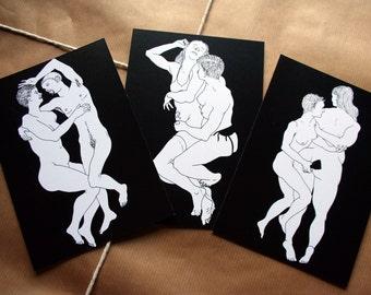 Real queer sex - Set of 3 postcards - queer postcard, transgender ftm lgbt postcards, trans, Lgbtq, lesbian, gay, erotic postcard,  adult