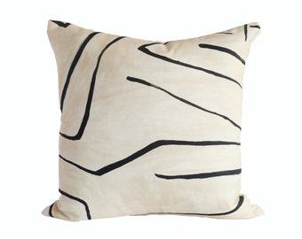 Kelly Wearstler Graffito Linen/Onyx -  Designer Pillow Cover - 1 SIDED OR 2 SIDED - Choose Your Size