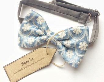 mens bow tie vintage blue - mens blue bow tie - vintage bow tie - floral bow tie - wedding