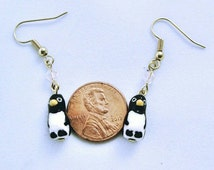 Mini penguin earings on gold plated fishhook earwires