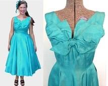50s Cocktail Dress / 50s Taffeta Dress / Vintage Cocktail Dress / 50s Evening Gown / 50s Dress / 50s Prom Dress / 1950s Party Dress / 1950s