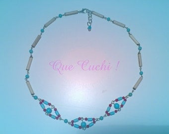 Indian style necklace made with bamboo, Turquoise and Coral