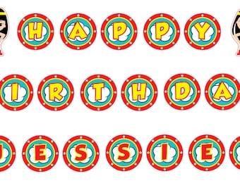 Wonder Woman Party, Wonder Woman Birthday Banner, Printable Birthday Banner, Wonder Woman Birthday