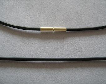 Rubber necklace with bayonet from 585 he gold