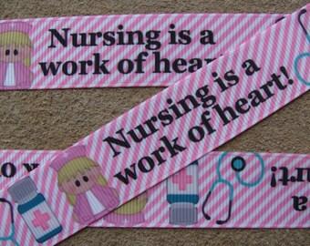 "7/8"" inch ribbon Nursing is a work of heart ribbon Nurse Printed ribbon Grosgrain Ribbon for Hair Bow ribbon by the yard"