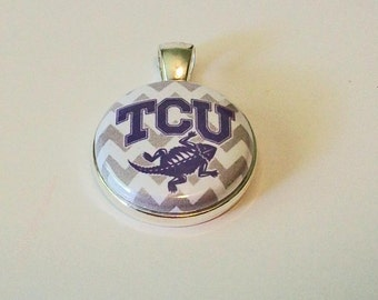 Fun Purple Gray and White Chevron Stripe Horned Frogs Round Silver Pendant