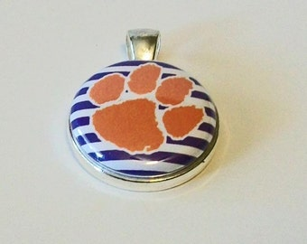 Purple and White Stripe Orange Paw Print Tigers Round Silver Pendant