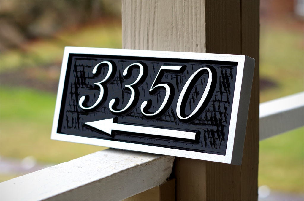 custom carved house number street address sign with arrow. Black Bedroom Furniture Sets. Home Design Ideas