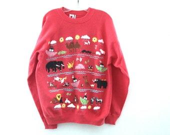 Vintage Noah's ark sweatshirt puffy paint 80s 90s animals