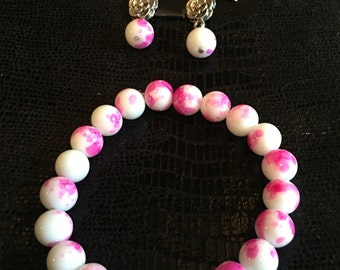 DBC Pink and white Bracelet and Earring Set
