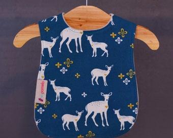 Baby to Toddler bib, organic cotton, canvas, baby bib, deer