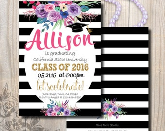 Graduation Invitation, Graduation Announcement, Black and White Graduation Invitation, Double-Sided, Stripes and Gold, Watercolor Roses