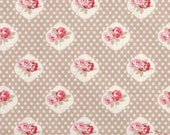 Tanya Whelan - Sweetie Rose in Taupe - cotton quilting fabric by the YARD cut