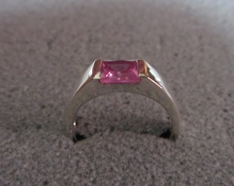 Sterling Silver Ring Pink Sapphire, Valentines