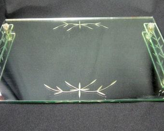 Mirrored Vanity Dresser Tray Perfume Bottle Cosmetic Display Toiletries