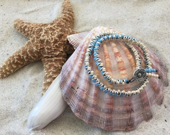 Leather wrap beaded bracelet