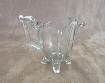 Vintage Heavy Clear Glass Fluted Handle Footed Creamer