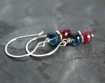 Ruby earrings, London Blue topaz earrings, ruby jewelry, London Blue topaz jewelry gift for her, ruby gift, topaz gift, silver ear wires