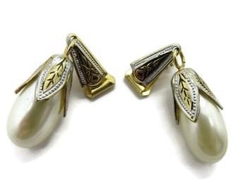 Dangling Pearl Earrings, Vintage Faux Pearl Spanish Earrings, Damascene Clip-on Earrings, Teardrop Earrings, Bridal Earrings, Gift for Her