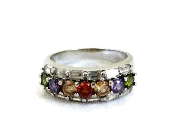 Multistone CZ Ring, Vintage Multicolor Sterling Silver Ring, Wide Band Gift for Her Size 6.5