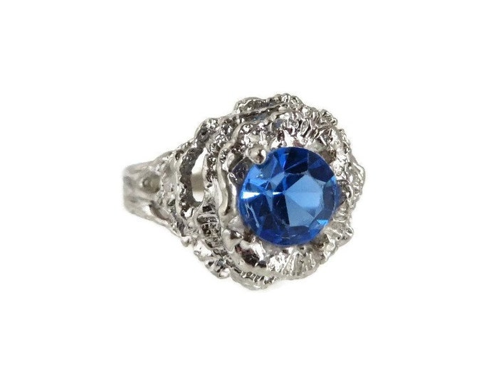 Blue Stone Cocktail Ring, Faux Topaz Ring, 14K White Gold Plated Ring, Vintage Dinner Ring, Size 6