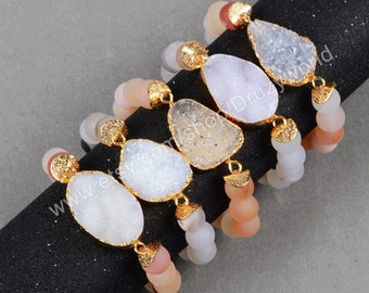 1Pcs Gold Plated Freedom Natural Agate Druzy Geode Bracelet & 10mm Frosted Reddish Agate Beaded Bracelet Natural Color Drusy Jewelry G0607
