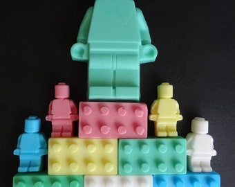 Lego Brick Soap 6 Bricks + 4 Mini figures & Large Mini Figure Man Shea Butter Multicolor Red Blue Green Yellow White