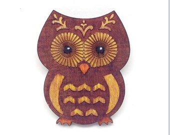 Owl Wood Brooch Pin (Handmade and painted on Birch)
