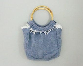 Wool felt leather  bag handbag wooden handle women recycled zen Italian  summer gift for her. JJePa