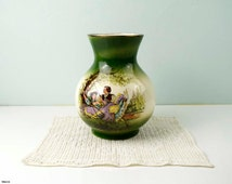 Vintage Staffordshire England Pottery Vase with Fragonard decoration