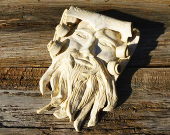 Hand Carved Wall Hanging Garden Face by Caleb Bussard