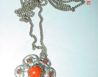 Vintage Spanish Silver Tone Filligree Necklace